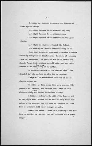 Reading copy (page 2) of FDR's