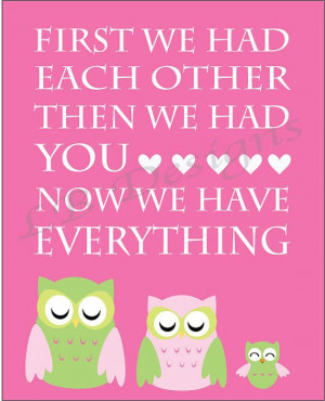How sweet is this? seriously.. Pink and Green Owl Nursery Quote Print ...