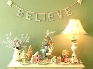 believe, christmas, decor, pastel, quote, vintage