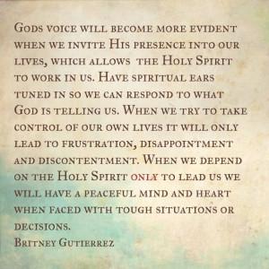 Hearing Gods voice. Christian life.