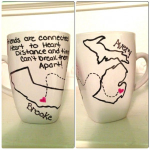 Long distance friends. Mugs. Maps. Friendship Quotes. Trace with ...
