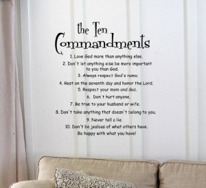 The 10 Commandments Vinyl wall art Inspirational quotes and saying ...