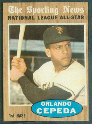 1962 Topps #390 Orlando Cepeda All-Star [#a] (Giants) Baseball cards ...