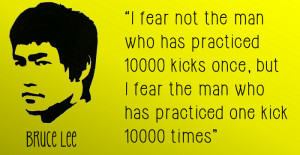 Bruce Lee Quote Fear the Man - football skills