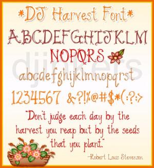 Fall Harvest Sayings Dj harvest font download