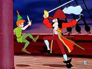 Peter Pan fighting with Captain Hook