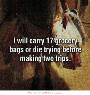 ... 17 grocery bags or die trying before making two trips Picture Quote #1