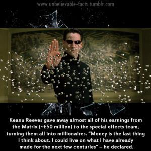 Keanu Reeves has shown his generosity by giving away £50 million