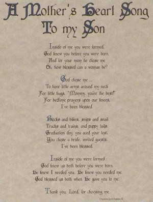Mother's Heart Song to My Son – Traditional Collection 8×10 ...