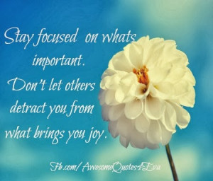 stay focused on what s important don t let other s detract you from ...