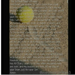 Laminated Softball Prayer...