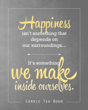 ... to download the Corrie Ten Boom happiness quote printable in yellow