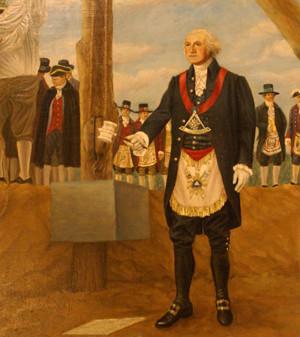mural in George Washington Masonic Memorial shows him in full Masonic ...