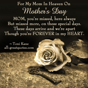 For My Mom In Heaven On Mother's Day