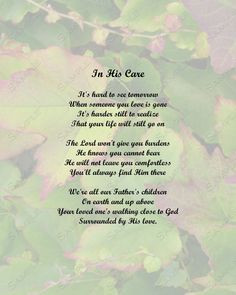 memorial poem in his care instant download digital via etsy more poem ...