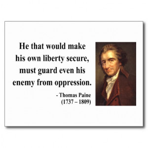 Thomas Paine Quote 3b Postcard