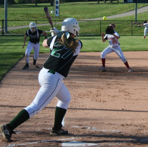 Floyd Central's Caroline Cato rips a line drive to BNL third baseman ...