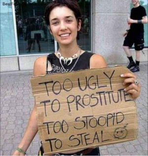 Too Ugly to Prostitute, Too Stupid to Steal