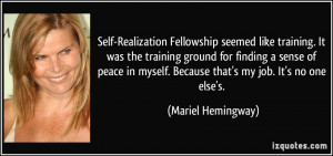 Self-Realization Fellowship seemed like training. It was the training ...