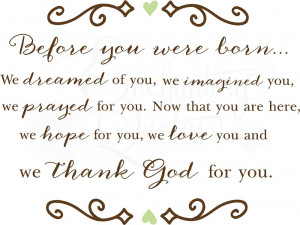 Baby Quotes - Before You Were Born