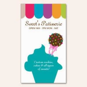Bakery Business Card Cake Pop Dots Canopy