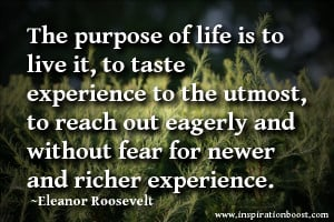 The purpose of life is to live it, to taste experience to the utmost ...