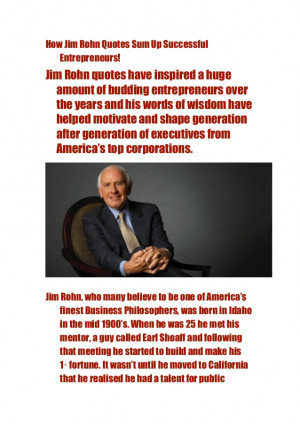 How Jim Rohn quotes sum up successful entrepreneurs