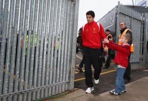 ... in this photo luis suarez luis suarez of liverpool arrives at the