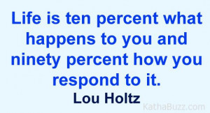 Lou Holtz : Life is ten percent what happens to you and ninety percent ...