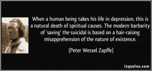human being takes his life in depression, this is a natural death ...
