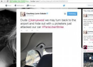 Courtney Love's taxi attacked in Paris UberPOP protest