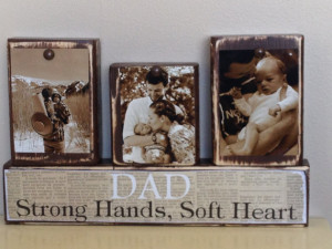 Personalized Fathers Day gift father photo with son and daughter sepia ...