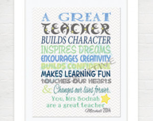 Teacher Appreciation Print - End of Year Teachers Gift - Personalised ...