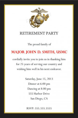 Military Navy Army Marines Air Force Retirement Party Invitation ...