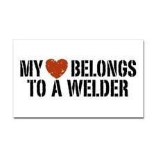 My Heart Belongs to a Welder Rectangle Sticker for