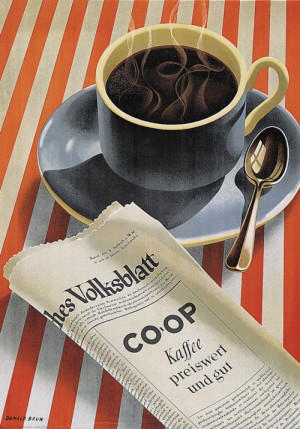 Donald Brun, advertising poster for Co-op Coffee, cheap and good, 1943 ...