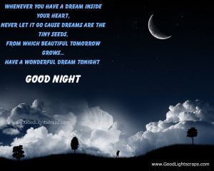 Whenever You Have A Dream Inside Your Heart ~ Good Night Quote