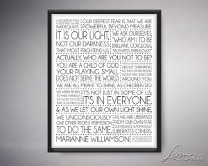 Marianne Williamson - Our Deepest Fear 8x10, 11x14, 16x20, 20x24 ...