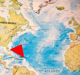 This red triangle shows the location of the Bermuda Triangle.