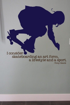 Skateboard Decal with Tony Hawk Quote Teen by urbanexpressions, $25.00