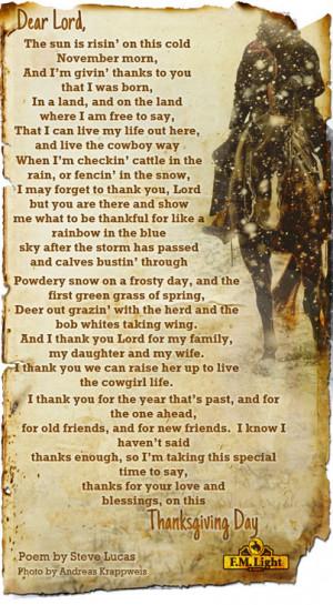 Cowboy Love Poems Cowboy poem, thanksgiving 2013