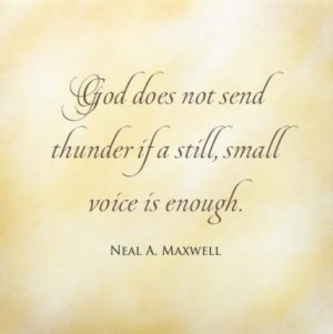 Maxwell God does not send thunder if a still small voice is enough.