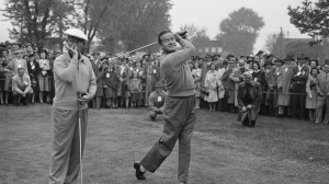 Bob Hope takes a swing while fellow linksman Bing Crosby registers an ...