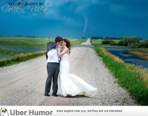 Wedding tornado flooded road = no problem in Saskatchewan