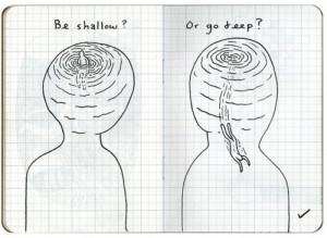 art, boy, drawing, go deep, illustration, self, self knowing, shallow ...
