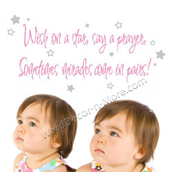 ... nursery wall quote for twins our wish on a star nursery wall quote for