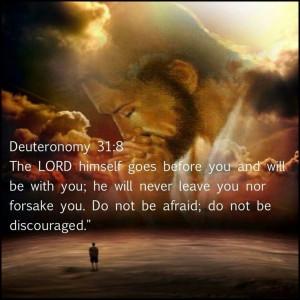 Deuteronomy 31:8 Good reminder, sometimes I don't feel this way