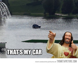 Funny photos funny Jesus car water