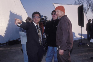 ... Hoffman, Woody Harrelson and Barry Levinson in Wag the Dog (1997