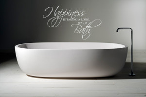 Happiness Is Taking A Warm Bath Wall Sticker Quote